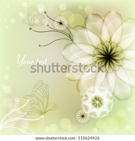 Elegant light green background with flowers and butterflies