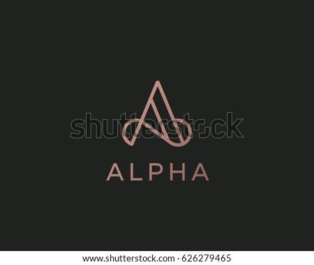 Elegant line curve vector logotype. Premium letter A logo design. Luxury linear creative monogram.