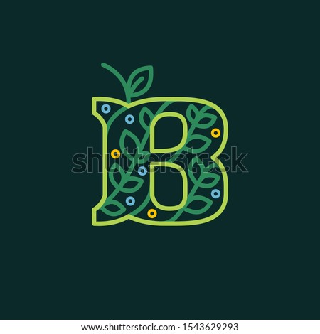 Elegant linear letter B eco ornate logotype. Premium vector typeface with green leaves and dew dots for eco, vegan, bio, raw, organic template.