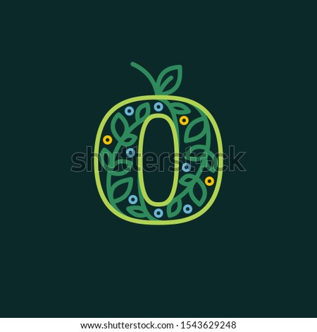 Elegant linear letter O eco ornate logotype. Premium vector typeface with green leaves and dew dots for eco, vegan, bio, raw, organic template.