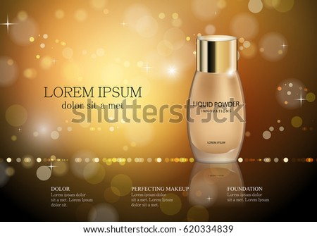 Elegant liquid powder isolated on golden sparkly and shiny background.Compact foundation advert for web,poster,placard,flyer and leaflet.Also useful for marketing on social network and banner template