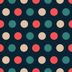 Elegant luxury colors polka dot seamless pattern. Gold, red, green on dark blue background.
