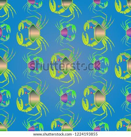 Elegant magic crab multicolor background seamless.