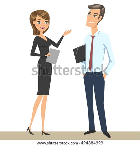 Elegant man and woman (business persons, businessman and businesswoman) talking. Vector illustration, isolated on white.