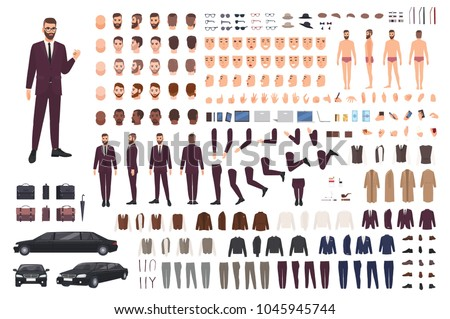 Elegant man dressed in business or smart suit creation set or DIY kit. Collection of body parts, stylish clothes, faces, postures. Male cartoon character. Front, side, back views. Vector illustration.