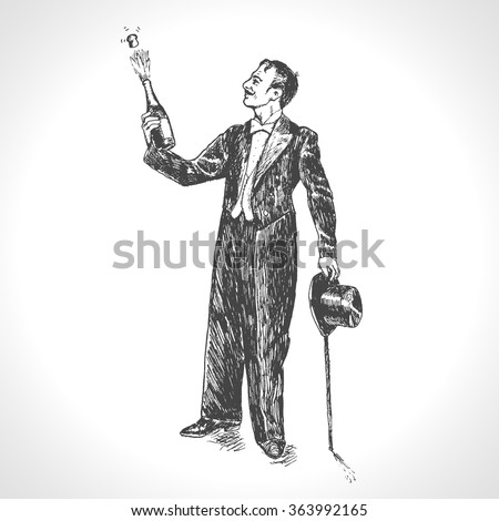 Elegant man opening champagne bottle. Wedding, anniversary, birthday or new year. Explosion foam tube moment of triumph. Gentleman in a tuxedo, hand drawn vector illustration in vintage engraved style