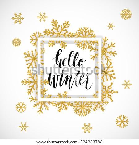 Elegant Merry Christmas lettering design with shining gold glittering snowflakes in white frame on white background. Vector illustration EPS 10