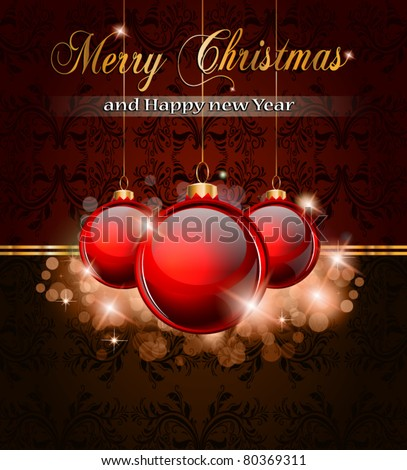 Elegant Merry Cristmas and Happy New Year background with vintage seamless wallpaper and glossy red baubles.