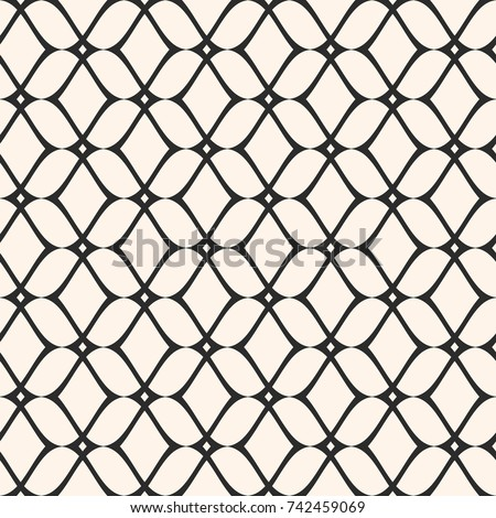 Elegant mesh seamless pattern, thin wavy lines. Texture of lace, weaving, net, smooth lattice. Subtle monochrome geometric background. Repeat design for prints, fabric, textile, decor. - Stock vector
