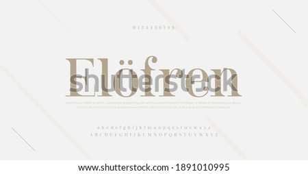 Elegant modern alphabet letters font and number. Classic Lettering Minimal Fashion Designs. Typography serif fonts regular decorative vintage concept. vector illustration Foto d'archivio ©