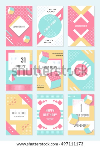 Elegant modern flyers and cards with origami and geometric elements. Trendy Retro design poster, cover, card and banner. Abstract  backgrounds, placards collection and mobile website.