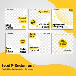 Elegant modern template square shape   with yellow and white theme suitable for social media advertisement and promotion