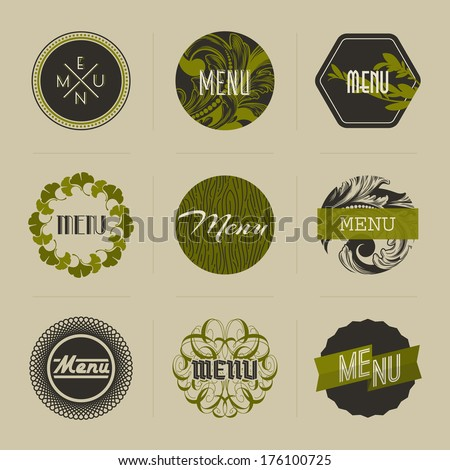 Elegant nature-themed vector badges in green