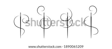 Elegant needle with thread. Vector. Сток-фото ©