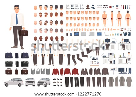 Elegant office worker or clerk creation set or DIY kit. Collection of body parts, stylish business clothes, faces, postures. Male cartoon character. Front, side, back views. Vector illustration.