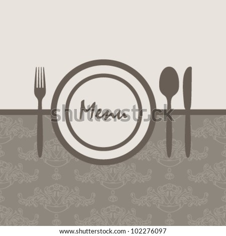 elegant ornamental brown menu - stock vector