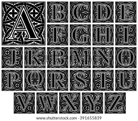 Elegant Ornamental Letter Alphabet Vintage Capital Vector Set