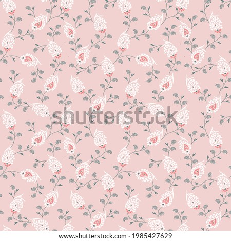 Elegant paisley  pattern in small white paisley