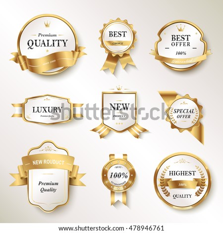 Elegant pearl white labels set, glossy labels with golden frame over beige background