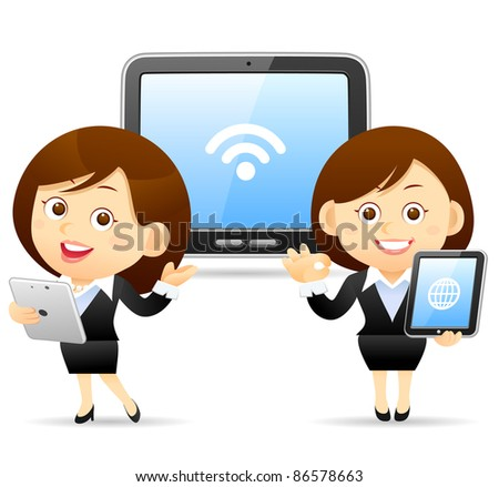 Elegant People Series | Beautiful business woman with Tablet PC