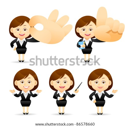 Elegant People Series |  business woman with pointer and hand sign