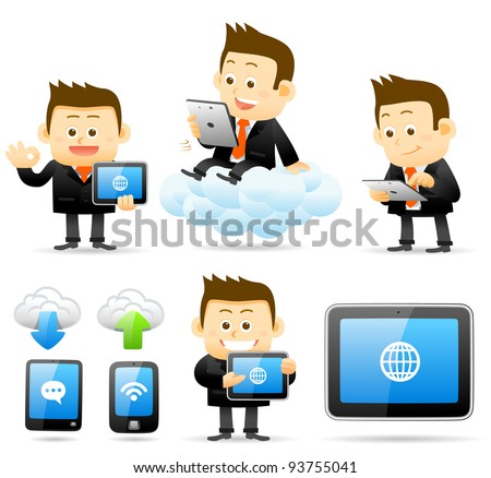 Elegant People Series | businessman holding tablet pc ,cloud computing set - stock vector
