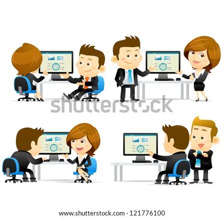 Elegant People Series -Businesspeople at computer - stock vector