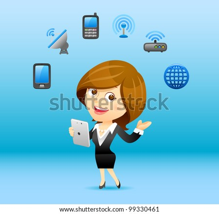 Elegant People Series | Businesswoman communication concept - stock vector