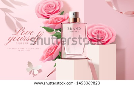 Elegant perfume ads with paper light pink roses decorations in 3d illustration