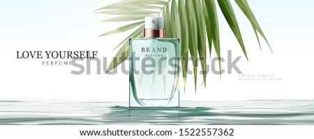 Elegant perfume glass bottle ads upon water surface in 3d illustration