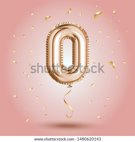 Elegant Pink Greeting celebration number zero promo number 0 foil gold balloon. Sale banner, zero percent credit installment  congratulations poster. Golden numbers with sparkling golden confetti