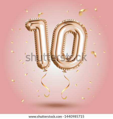 Elegant Pink Greeting celebration ten years birthday Anniversary number 10 foil gold balloon. Happy birthday, congratulations poster.   Golden numbers with sparkling golden confetti. Vector