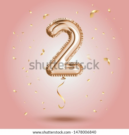 Elegant Pink Greeting celebration two years birthday Anniversary number 2 foil gold balloon. Happy birthday, congratulations poster.   Golden numbers with sparkling golden confetti. Vector