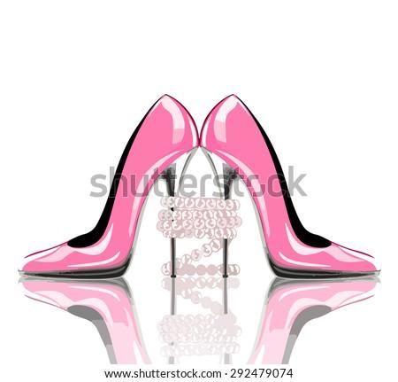 elegant pink  high heel shoes