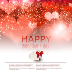 Elegant  red background with hearts and place for text. Valentine's Day. Vector Illustration.