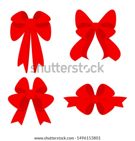Elegant red bows from a wide ribbon. Decor for greeting cards for birthday, christmas, new year. Gifts on sale, prize to winner. Surprises for holidays and packing presents. Flat illustration.