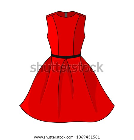 Elegant red dress icon. Beautiful short red dress with black / gray belt, isolated on white background. Festive dress without sleeves. Vector illustration, EPS10.