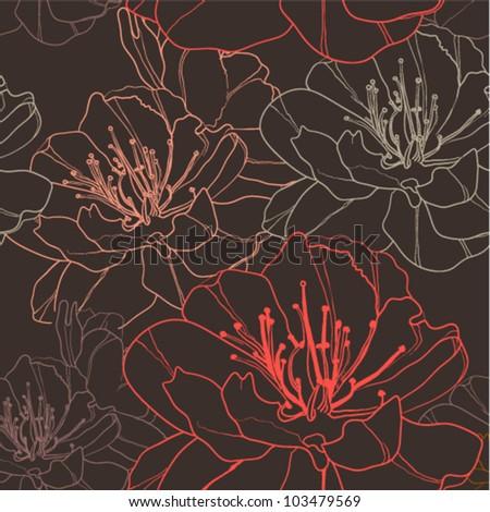 Elegant retro seamless background with stylish flowers. (vector)