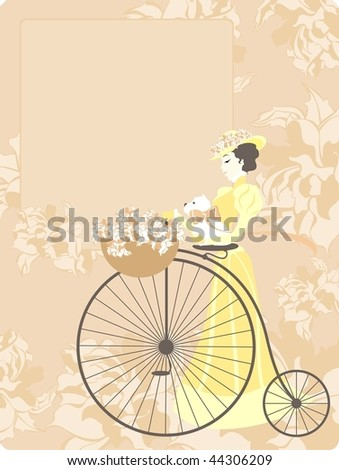 elegant retro style card with an image of the woman with a bicycle and a dog
