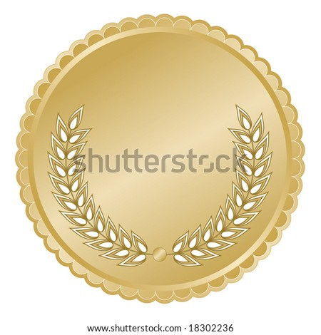 Elegant rich gold medallion or seal with laurel branches and detailed decorative scalloped edge for anniversary or commemorative use.