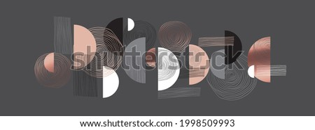 Elegant rosy gold and gray geometric header template. Lux and business vibes laconic vector design element for card, header, invitation, poster, social media, post publication.  Stockfoto ©