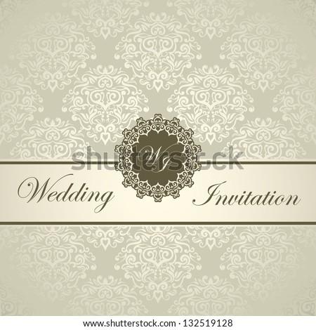 Vector Images Illustrations And Cliparts Elegant Royal Wedding Card Seamless Damask Background Light Golden Style Hqvectors Com