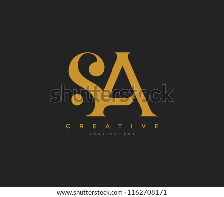 Elegant SA Letter Linked Monogram Logo Design Stok fotoğraf ©