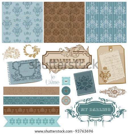 stock vector Elegant Scrapbook Design Elements Vintage Frames and Damask