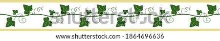 Elegant seamless border, ivy ribbon for decor. Floral frame. Vector hand drawn illustration. White background. Foto stock ©