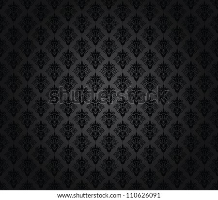 elegant seamless damask pattern black and grey - stock vector