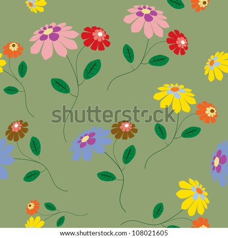 Elegant seamless from colorful flowers illustration on green - stock vector
