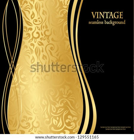 Elegant seamless gold wallpaper. Can be used as greeting card or invitation