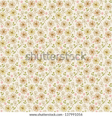 Elegant seamless linear texture with flowers. Endless delicate floral pattern, template for design and fabric, background, package, wrapping paper