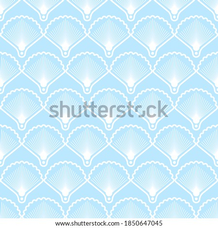 Elegant seamless pattern in art deco style. Background with shells for wallpaper, textiles, wrapping paper. Vector illustration ストックフォト ©